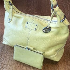 Yellow leather purse and wallet